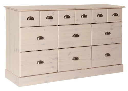 6+3 bedroom drawer chest in Pine/White finish