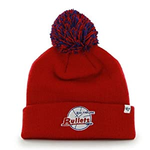 Washington Wizards Vintage Baltimore Bullets Red Pom Pom 2-Sided Beanie Hat - NBA... by Brand 47