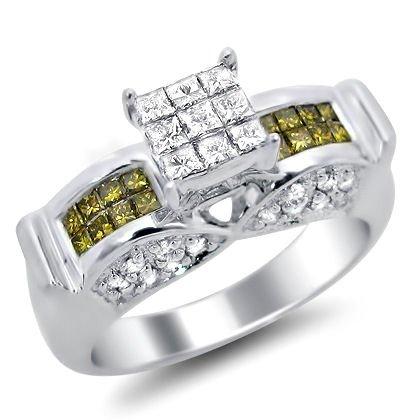 .90Ct Princess Cut Fancy Yellow Diamond Ring 14K White Gold