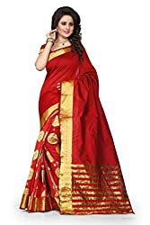 Dealseven Fashion New Red Colure Cotton Woman Silk Saree
