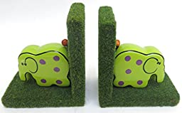 Bookends, Green Elephants, Decor, Home, Nursery, School, Library, Size 11\