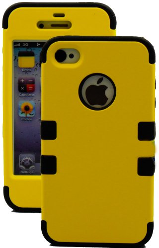 "myLife (TM) Black and Yellow - Flat Color Series (3 Piece Protective) Hard and Soft Case for the iPhone 4/4S (4G) 4th Generation Touch Phone (Fitted Front and Back Solid Cover Case + Internal Silicone Gel Rubberized Tough Armor Skin + Lifetime Warranty + Sealed Inside myLife Authorized Packaging) ""ADDITIONAL DETAILS: This three layer iphone 4 armor skin gel fit together case is made of grip e at Amazon.com"