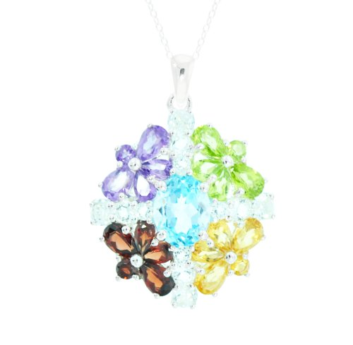 Sterling Silver Multi Gemstone Flower Pendant Necklace, 18