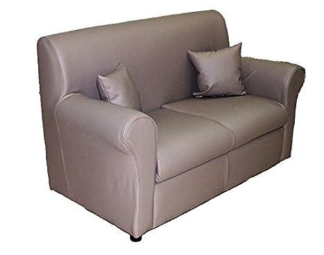 Divano, nuovo modello, ideale pratico e funzionale, rivestimento in ecopelle 2 posti + cuscini novità