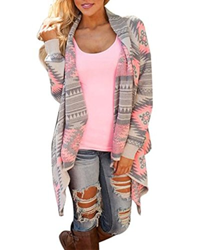 TAORE Women's Shawl Collar Thick Geometric Printed Open Front Cardigan (L, Pink)