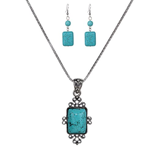 Yazilind Vintage Tibetan Silver Elegant Carved Rectangle Turquoise Pendant Necklace Earrings Jewelry Set