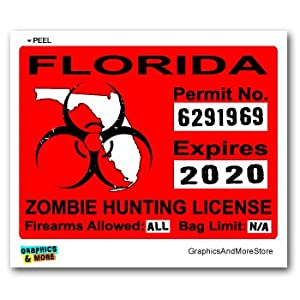 Florida fl zombie hunting license permit red for Fishing license florida