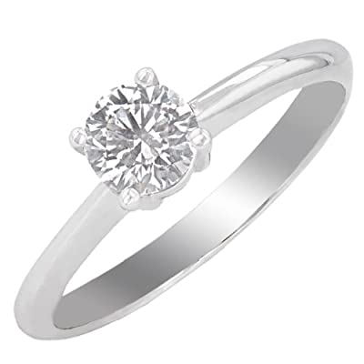 Ariel 18ct White Gold 4 Claw Engagement Ring, G/SI3 EGL Certified Diamond, Round Brilliant, 0.50ct