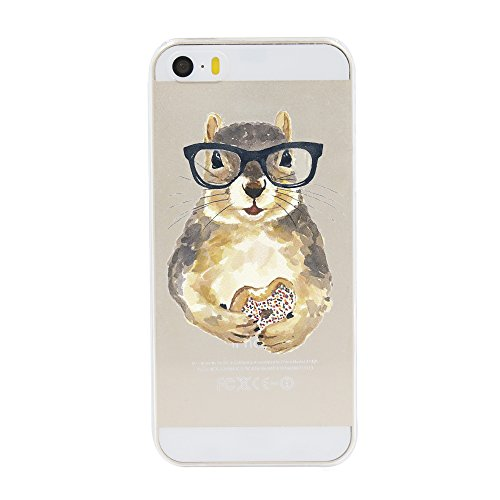 iPhone 5 5S SE Case,Novelty Cartoon Animal Pattern on Soft TPU Silicone Protective Skin Ultra Slim & Clear with Funny Cute Design Bumper Back Cover for 5/5s/SE 4 inch,squirrel eating bread