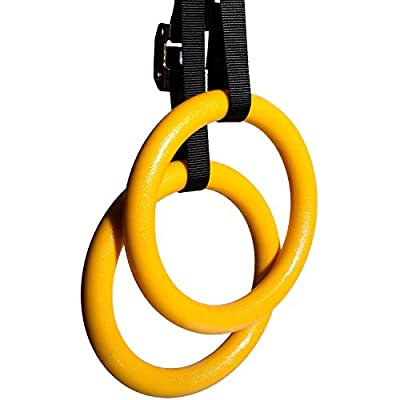 Reehut Gymnastic Rings W/ Adjustable Straps, Metal Buckles & Manual - Home Gym (Set of 2) - Non-Slip - Great For CrossFit, Workout, Strength Training, Fitness, Pull Ups and Dips