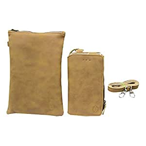 J Cover A7 Zara Sr Nillofer Leather Wallet sling Bag clutch Pouch Mobile Phone Case Cover For Allview P8 Energy Pro Tan