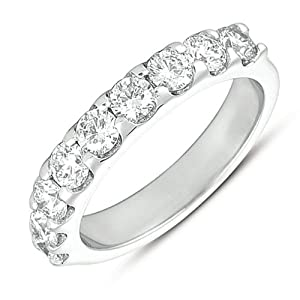 14k 1.35 Dwt Diamond White Gold Prong Set Band Ring - JewelryWeb