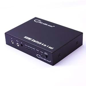 LCS - SWITCH HDMI Automatique - 4 ports avec Télécommande - 4 sources HDMI vers 1 écran - Full HD 1080p - 3D Optimisé - Amplicateur intégré - Connecteurs plaqués or - Certifié HDCP - Boitier en métal compatible avec tous les téléviseurs