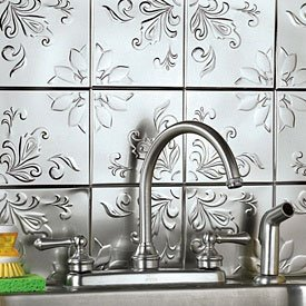 self adhesive decorative silver embossed floral tin tiles