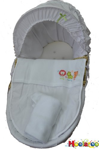 Jungle Safari Friends Baby Moses Basket White Unisex Lenny Harry & Tilly