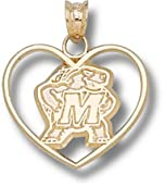 Maryland Terrapins Terrapin Heart Pendant - 14KT Gold Jewelry by Logo Art