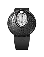 RSW Women's 7130.1.R1.2.D0 Moonflower Black IP Stainless Steel Diamond White Discs Automatic Rubber Watch