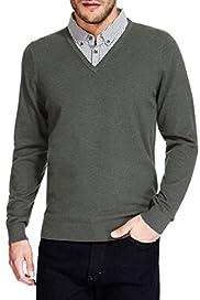 Cotton Rich Mock Layered Shirt Jumper [T30-4049M-S]