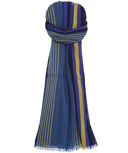 Paul Smith Men's Sciarpa a righe tessute Blu Unica Taglia