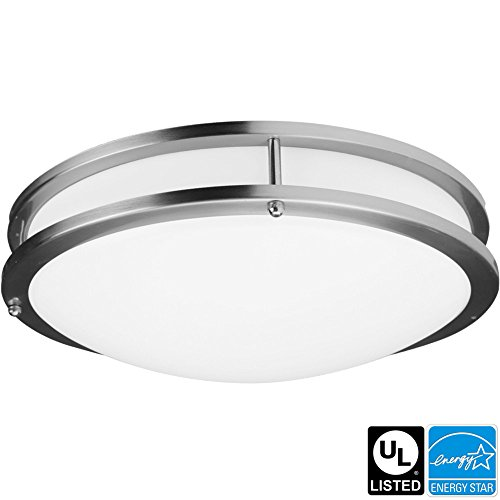 Luxrite LR23096 26W 16 Inch LED Flush Mount Ceiling Light, Chrome Finish, Soft White 3000K, 1820 Lumens, Dimmable, ENERGY STAR Qualified, UL-Listed, 1-Pack (Led Flush Mount Light compare prices)