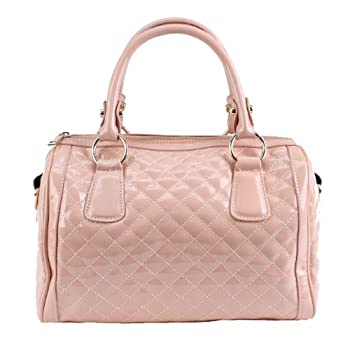 Scarleton quilted patent faux leather satchel H106405 - Pink. Please note: actual color may vary from picture due to computer settings.