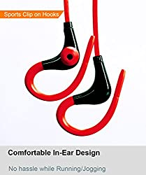 BoomSlang Wireless Bluetooth Clip On in-ear Sports Noise Cancelling Earphones Headset Sweat Splash proof for Running/Gym/Training with Built-In Mic for bluetooth enabled iOS and Android Mobiles/Tablets (Red & Black)