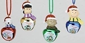 Set of 4 Peanuts Characters Jingle Buddies Christmas Bell Necklaces