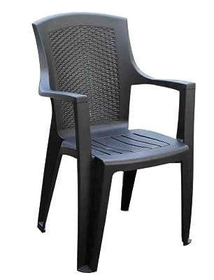 Progarden Eden 87101 Stackable Chair Solid Plastic / Wicker Style Reverse L 62 x W 60 x H 89 cm Anthracite