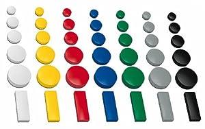 30x Magnete, farbig sortiert, 24, 32, 54x19 mm, in 3 Größen, Haftmagnete für Whiteboard, Kühlschrank, Magnettafel, Magnetset