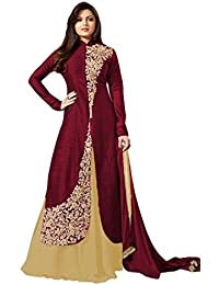 AnK New Collection Women's Brown & Cream Banglori Silk Semi Stitched Salwar Suit