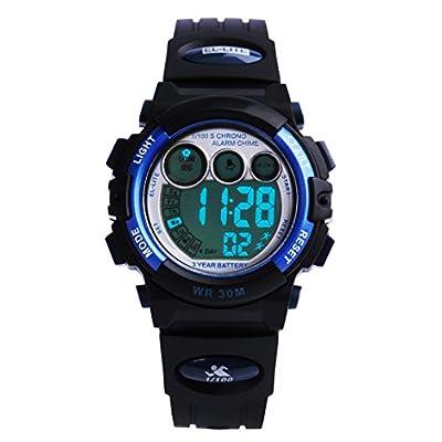 Readeel Multi-function Digital Watch Kids Watch Soft Rubber Strap Waterproof LED Students Watch Outdoor Sport Watch,Deep Blue Case