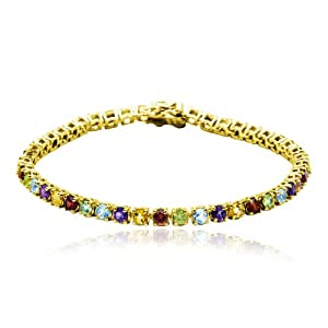 "18k Yellow Gold Plated Sterling Silver Multi-Gemstone Bracelet, 7.25"" from Amazon Curated Collection"