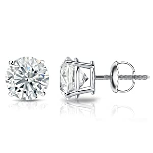 PARIKHS Round Cut Diamond Stud Popular Quality in Screw Back 14k White Gold (0.35 ctw, I-J color, I1 clarity)