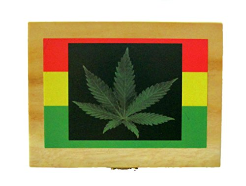 Rasta Leaf Tobacco Rolling Stash Box! EmptyHand Embellished in USA (Smokers Box Marijuana compare prices)
