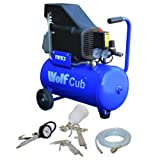 Wolf Cub 24 Litre, 1.5HP, 6.35CFM, 230v, MWP 116psi Air Compressor + 4 Piece Air Tool Kit 5 Meter PVC Hose