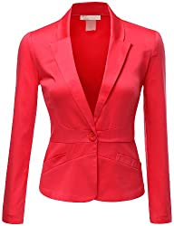Doublju Women Simple Tailored Boyfriend Cropped Blazer Suit Jacket