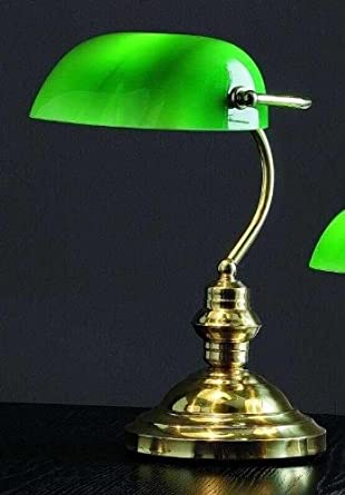 Lampada da tavolo e da scrivania in ottone lucido con for Tavolo scrivania