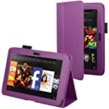 "Purple Leather Cover Sleeve Case With Stand and Sleep Mode For Amazon Kindle Fire HD 7"" (Previous Generation)"