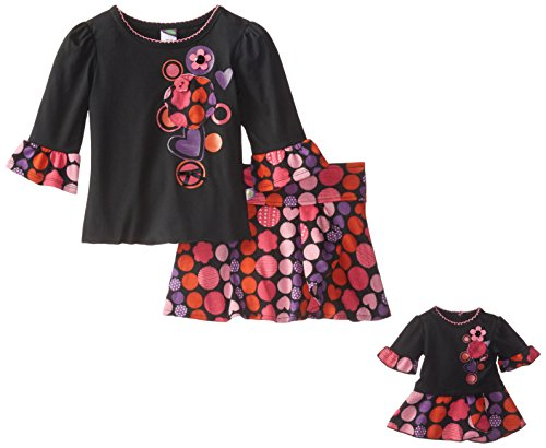 Dollie & Me Little Girls' 2 Piece Skirt Set Knit Screen Print Top with Sweater Knit Printed Skirt, Black/Multi, 6