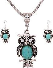 Regalo de la joyería de plata tibetana Yazilind Oval Turquoise cristal búho pendientes del collar para la Mujer