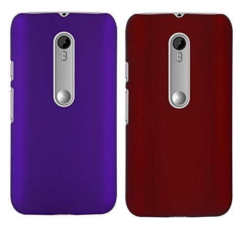 Chevron Back Cover Combo Of 2 for Moto X Play (Purple, Red)