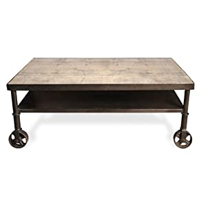 Industrial Loft Reclaimed Wood Iron Casters Cart Coffee Table Kitchen