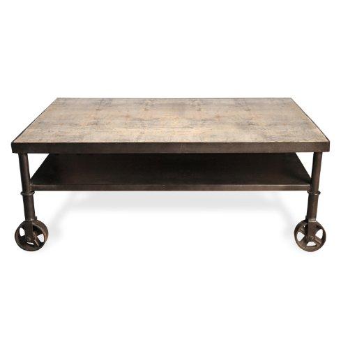 Belker Industrial Loft Reclaimed Wood Iron Casters Cart Coffee Table