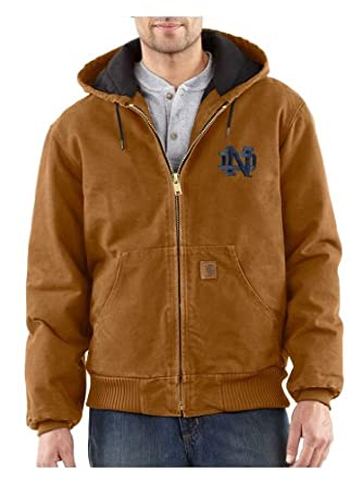 NCAA Notre Dame Fighting Irish Mens Quilted Flannel Lined Sandstone Active Jacket by Carhartt