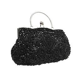 BMC Black Beaded Sequin Design Metal Frame Kissing Lock Clasp Satin Interior Evening Clutch - Exuding Eloquences Collection