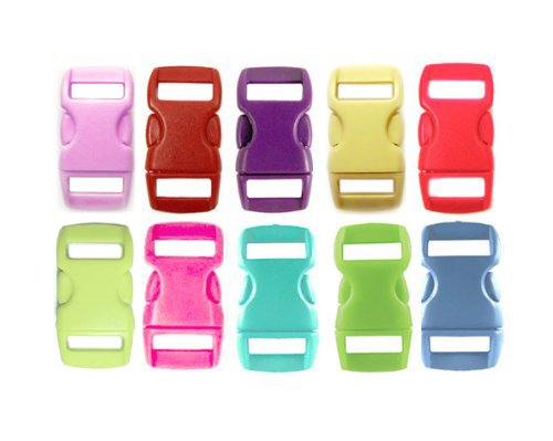 "50 Buckles 3/8"" (10mm), Mix of 10 Colors (5 of each) Contoured Side-Release. Perfect for Paracord Bracelets."