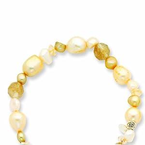 Rutilated Qtz/Citrine/Champagne FW Cult Pearl Stretch Bracelet