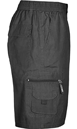 Mens Plain Summer Shorts Pure Cotton Cargo Combat Style (Medium, Black)