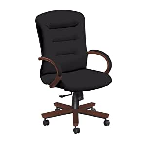 National Office Furniture Remedy High Back Executive Wood Office Chair, Cordovan Walnut, Black Faux Leather