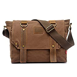 ZLYC Vintage Classic Men Canvas and Leather 13.3 Inch Laptop Messenger Shoulder Bag, Coffee
